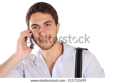 Portrait of a businessman talking on the phone. Isolated white background.
