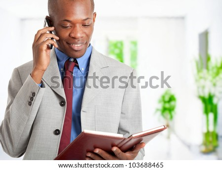 Portrait of a businessman talking on the phone while reading his agenda - stock photo