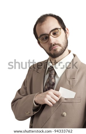 Portrait of a businessman with a business card