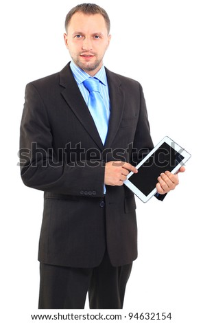 Portrait of a businessman with a tablet computer against a white background - stock photo