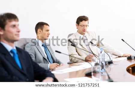 Portrait of a businessmen, colleagues communicate with each other - stock photo
