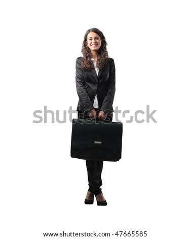 Portrait of a businesswoman carrying a briefcase - stock photo