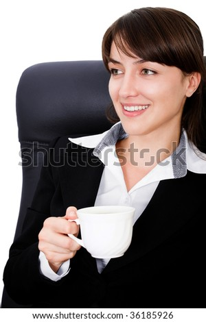 Portrait of a businesswoman drinking coffee with white background - stock photo