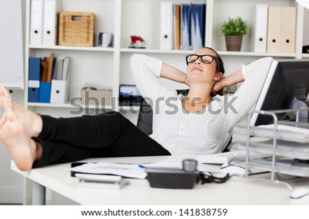 Portrait of a businesswoman during the siesta - stock photo