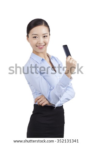 Portrait of a businesswoman holding cell phone
