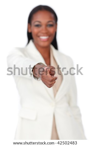 Portrait of a businesswoman pointing isolated on a white background