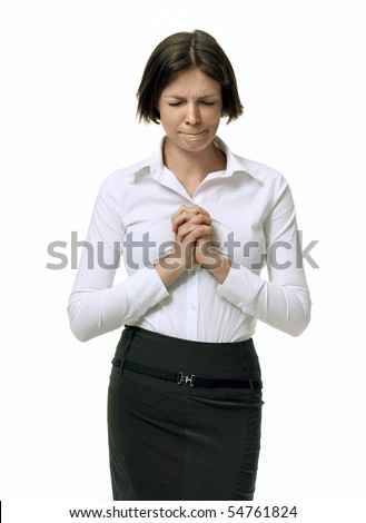Portrait of a Businesswoman praying about her work on white