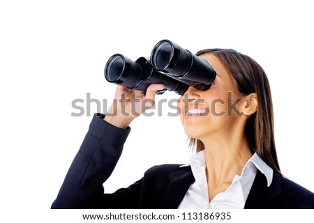 Portrait  of a businesswoman searching for new job opportunities with binoculars. can also be used as business vision concept - stock photo