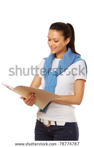 Portrait of a businesswoman with a clipboard