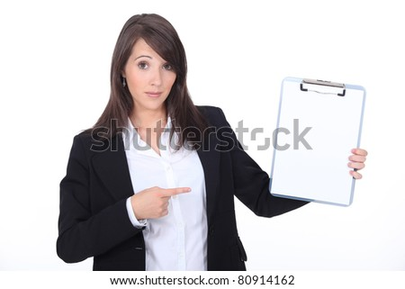 portrait of a businesswoman with file - stock photo