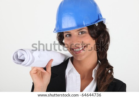 Portrait of a businesswoman with helmet