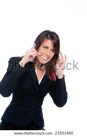 portrait of a call center girl - stock photo