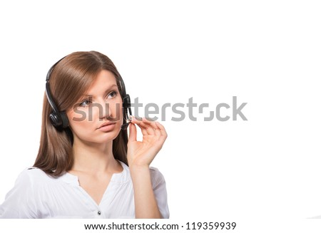 Portrait of a call center operator at work, on white background