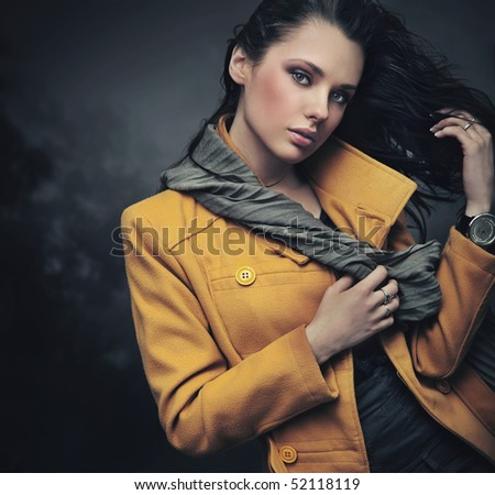 Portrait of a calm young lady - stock photo