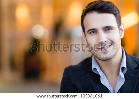 Portrait of a casual business man smiling