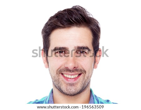 Portrait of a casual latin man smiling, isolated over a white background