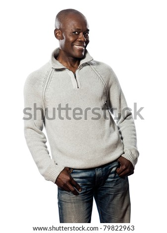 Portrait of a casual mature afro American man posing in studio on white isolated background - stock photo