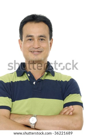 Portrait of a casual  satisfied man - stock photo