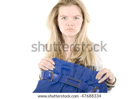 Portrait of a casual woman with  blue leather bag - stock photo