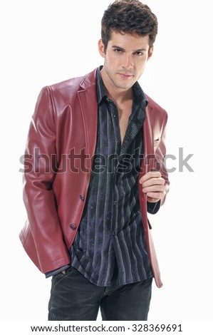 Portrait of a casual young satisfied man. - stock photo