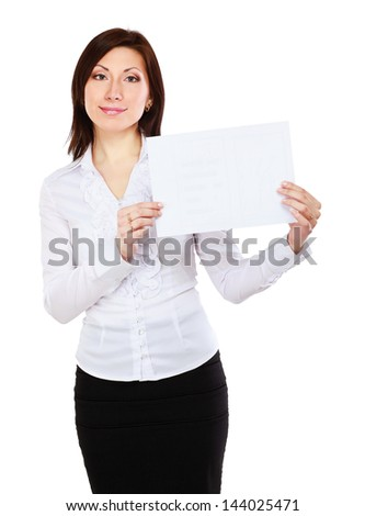 Portrait of a casual young woman holding blank card - on white background. - stock photo