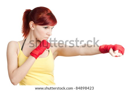 Portrait of a caucasian red-haired young woman in boxing-bandage, isolated on white, studio shot - stock photo