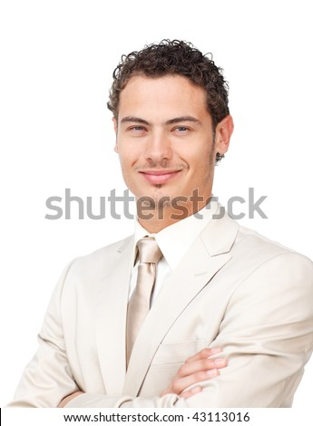 Portrait of a charismatic hispanic businessman against a white background