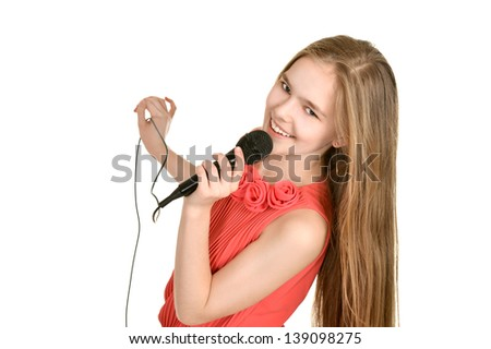 portrait of a charismatic young girl singing on a white background - stock photo
