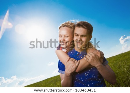 portrait of a charming couple - stock photo