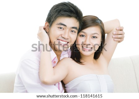 Portrait of a charming couple enjoying their happiness - stock photo