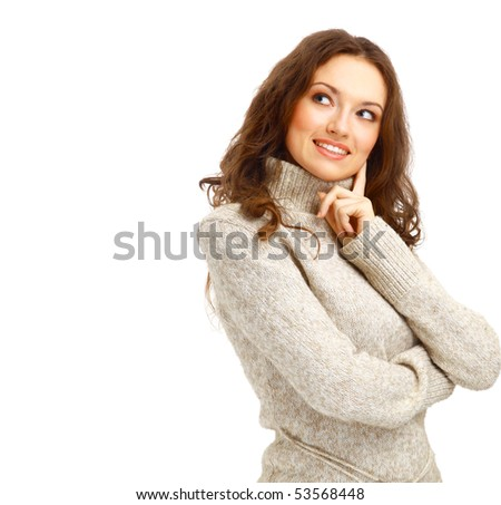 Portrait of a charming female posing over white background - stock photo