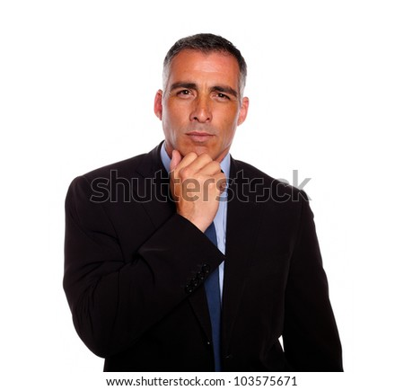 Portrait of a charming latin businessman on black suit thinking against white background - stock photo