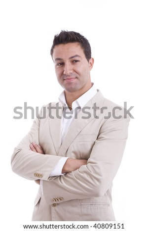 portrait of a charming man with a smile - stock photo