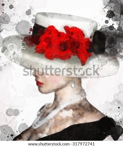 Portrait of  a charming woman with hat and red flowers - stock photo