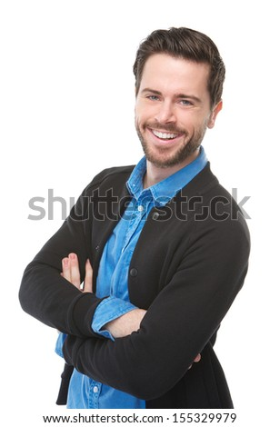 Portrait of a charming young man smiling on isolated white background - stock photo