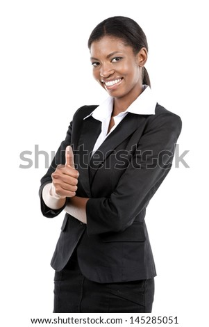 Portrait of a cheerful African American businesswoman giving a thumbs up. Isolated on white - stock photo