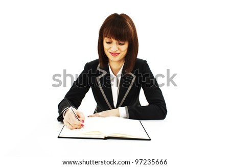 Portrait of a cheerful Business woman sitting on her desk holding a pen working with documents sign up contract.  Isolated over white background - stock photo