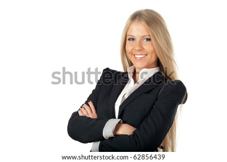Portrait of a cheerful businesswoman isolated on white background