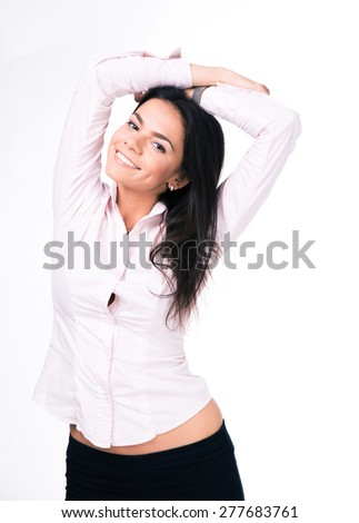 Portrait of a cheerful businesswoman looking at camera. Isolated on a white background - stock photo