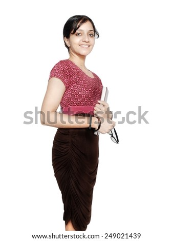 Portrait of a cheerful employee with books and glasses. - stock photo