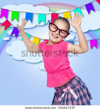 portrait of a cheerful girl, holiday, abstract background - stock photo
