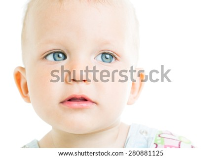 Portrait of a child aged one year - stock photo