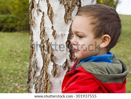 Portrait of a child boy at park by birch tree trunk. - stock photo