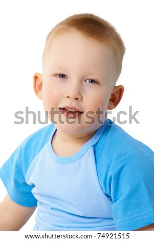 Portrait of a child in a blue T-shirt isolated on white background - stock photo