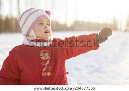 portrait of a child on a winter background - stock photo