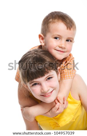 Portrait of a child, the love of brother and sister. Isolated white background - stock photo