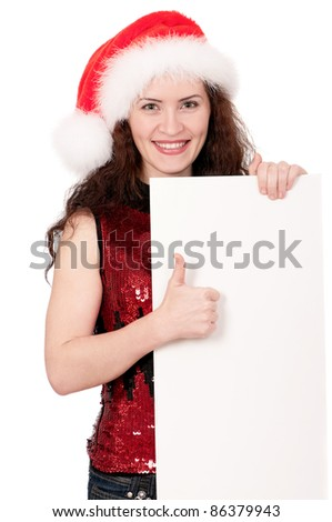 Portrait of a Christmas woman in santa hat with blank billboard on white background