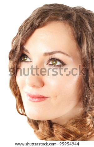 portrait of a close-up beautiful Russian woman with a braid of hair on an isolated white background.
