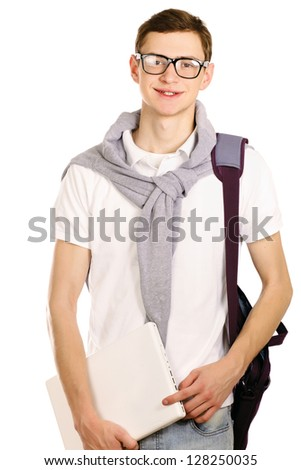 Portrait of a college guy with laptop, isolated on white background
