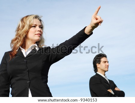 portrait of a confident and successful business team posing together - stock photo